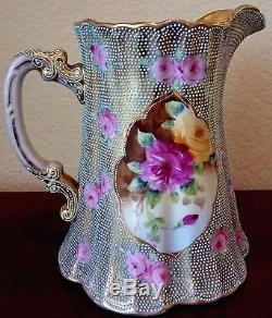 Nippon Hand Painted Pitcher Jug Roses Beaded Gilt Enamel Antique Art Pottery