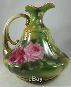 Nippon, Stunning Hand Painted Roses Antique Ewer Vase Gold Embellished Vg Cond