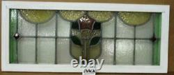 OLD ENGLISH LEADED STAINED GLASS WINDOW TRANSOM Hand Painted Rose 36.5 x 15.25