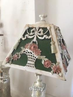 OMG Antique Iron Lamp White Paint Swags Of Pink Roses In Baskets Glass Shade