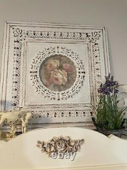 OMG Christie REPASY PAINTING PINK WHITE ROSES In Vintage Ceiling Tin frame