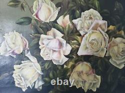 OMG! Stunning Antique Painting Of ROSES Canvas