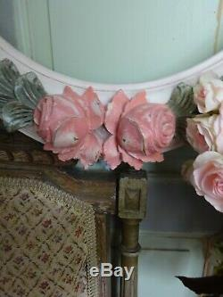 ONLY ANTIQUE FRENCH WOOD OVAL FRAME ROSES FLOWERS SHABBY CHIC 19th