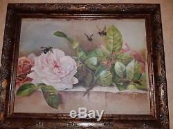 Oil Painting 1810/1815 Bumblebees Pollinating Roses