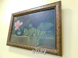Old Antique Still life Oil Painting Pink Rose Grapes Arts and Crafts Frame