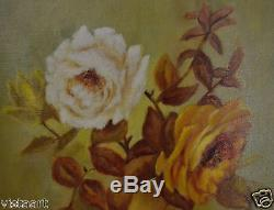 Old Canvas Oil Painting Roses in Vase w. Gold Antique Wood Frame 17x21 SGD