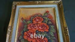 Old Korean Hand Oil Painting Pink & Red Roses Signed Framed