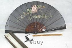 Old hand fan painted nude cupid roses black gauze large 26 in open period 19th c