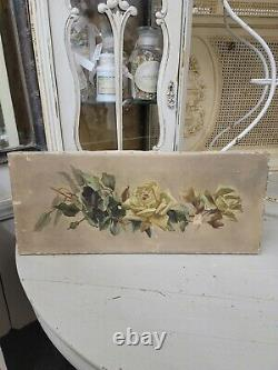 Original Antique Victorian Yellow Roses on Canvas after Catherine Klein