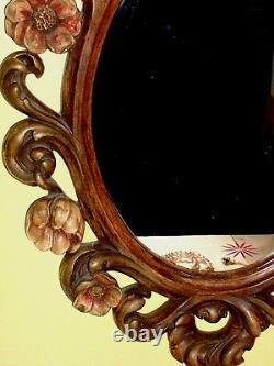 Ornate Gilded VINTAGE FRAME Hand Painted French Baroque Rose Flowers Hollywood