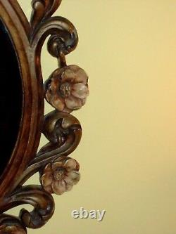 Ornate Mirror VINTAGE FRAME Hand Painted French Baroque Rose Flowers Hollywood
