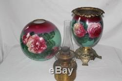 Outstanding Hand Painted Gone with the Wind Oil Lamp with ROSES RARE 12 Shade