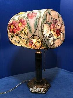 PAIRPOINT Lamp PUFFY Reverse Painted PANSIES & ROSES As Is SAN RENO 16 SHADE