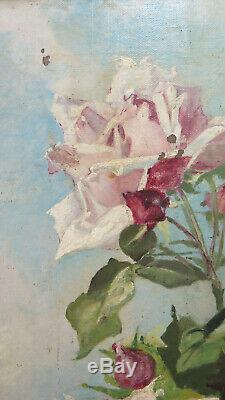 Painting Antique with Flowers Rose Art Nouveau Style Liberty Oil on Canvas X1