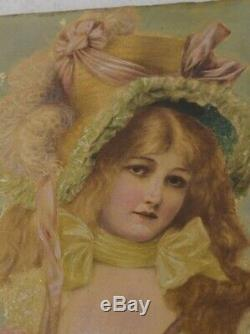 Painting Victorian girl large hat rose bouquet 6 x 8 in. Antique original 1890