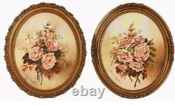 Pair Antique Beautiful Oval Roses Floral Oil Paintings Original Gilt Frames