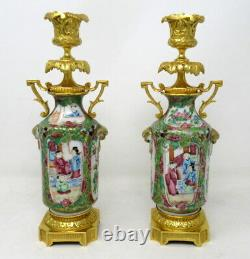 Pair Hand Painted Cantonese Famille Rose Chinese Porcelain Ormolu Candlesticks