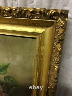 Pair Magnificent Antique Victorian Oil Paintings Flowers Roses Gold Gesso Frames