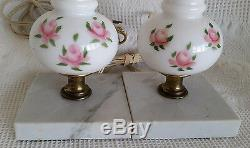 Pair Milk Glass Table Lamps Boudoir Hand Painted Roses Marble Base Vintage