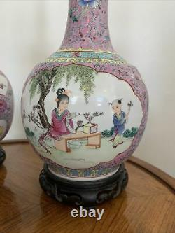 Pair Of Antique Hand Painted Chinese Vase Table Lamps Famille Rose Gorgeous