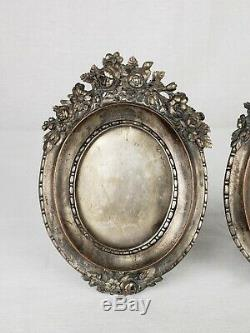 Pair Of Antique Ornate Silverplated Oval Picture Frames With Roses 19th Century
