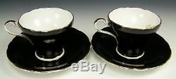 Pair Of Aynsley Black Hand Painted Cabbage Rose Tea Cups And Saucers Teacups