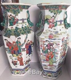 Pair Of Huge Famille Rose Chinese Porcelain Antique Flower Vases Hand Painted