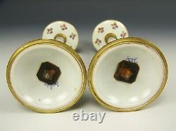 Pair Of Ormolu Sevres France Hand Painted Roses Gold Candlesticks Candleholder