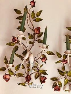 Pair Of Rare Vintage Hand Painted Tole Metal Sconces Candleholders Birds, Roses