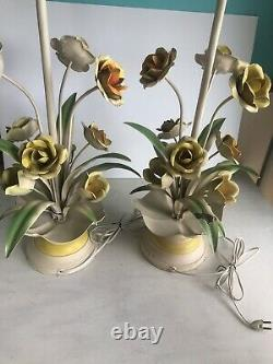 Pair Vintage Retro MCM Tole Painted Floral Roses Lamps Italy Hollywood Regency