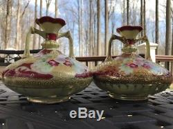 Pair of Nippon Pink & Red Rose Hand Painted Moriage Gold Vases 6H