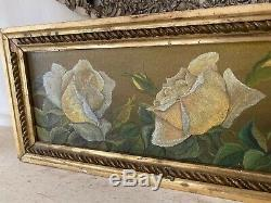 Petite Antique oil painting Yellow Roses Gilt Frame Late 1800s