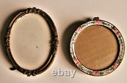 Pink Roses on Miniature French Enamel Round Picture Frame Easel Back 3 Diameter