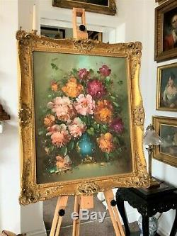 QUALITY ANTIQUE MID 20thc FLORAL STILL LIFE ROSES STUDY OIL ON CANVAS PAINTING