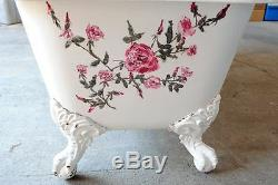 RARE Antique 6' Long Dual End Cast Iron Clawfoot Bathtub Hand Painted Roses
