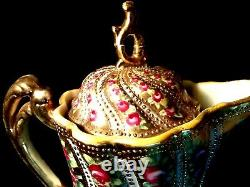 RARE Antique Nippon Moriage Beaded Chocolate Pot Hand Painted Roses Gold Gilded