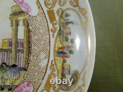 RARE Chinese Qing Dy Hand Painted Famille Rose Scenic Porcelain Plate