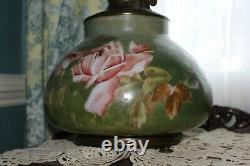 RARE Hand Painted Gone with the Wind Oil Lamp With PINK ROSES & Lower Bombay Shade