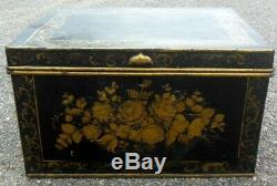 RARE Large Antique 19th c Painted TOLE Metal Trunk Chest Roses Florals
