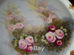 Rare Antique Limoges Ls&s Hand Painted Large Serving Tray Charger, Roses 15 1/2