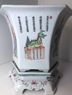 Rare Chinese Antique Famille Rose Hexagon Flower pot Painting with Calligraphy