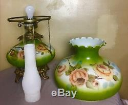 Rare Large Green Yellow Roses Hand Painted Floral Hurricane Glass Lamp Shade 27