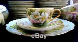 Rare Signed 1917 Sherratts Hand Painted Wild Rose 36 Piece Limoges Set Gold Trim