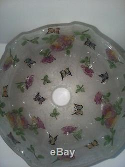 Rare Signed Handel Roses And Butterflies Reverse Painted Boudoir Lamp Mint