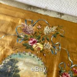 Rare Vtg Antique FRENCH SEDAN CHAIR BLIND or Curtain Roses PAINTING Work of Art