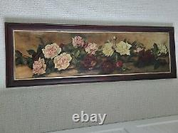 Rare and Gorgeous Victorian Yard Long'Roses' Oil Painting on Canvas