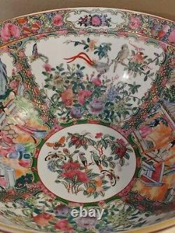 Rose Medallion Large Heavy 14 Wide Bowl 6 1/2 Tall Sides Painted in Hong Kong