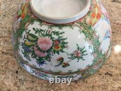 Rose medallion punch bowl 10 hand painted figures Chinese antique old porcelain