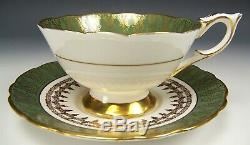 Royal Stafford Hand Painted Large Roses Gold Teal Gilt Tea Cup & Saucer