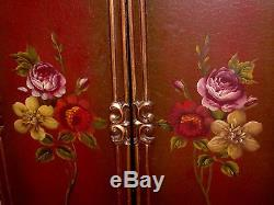Royal Vintage French Baroque GOLD Gild Ornate Painted Roses Panel Screen Divider
